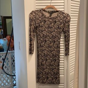 Long-sleeved black and nude flower-print dress